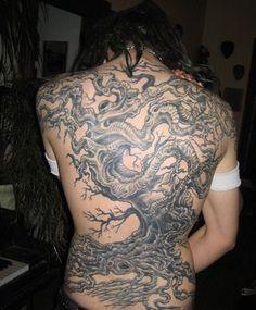 Full Back Tree Tattoo Design for Women