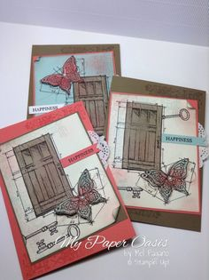 In this World vintage stamp set by Stampin Up. Gorgeous colour combinations from My Paper Oasis New Catalogue, Vintage Stamps, Creative Cards, Homemade Cards, Stampin Up Cards, Oasis, Cardmaking, Colour Combinations, Paper Crafts