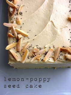 Lemon poppy seeds, Almond frosting and Lemon poppy seed cake on ...