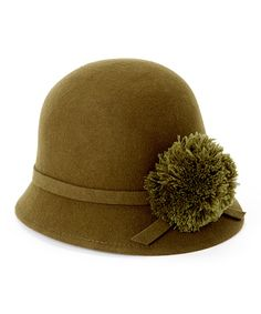 Look what I found on #zulily! Jeanne Simmons Accessories Olive Pompom Wool Cloche by #zulilyfinds