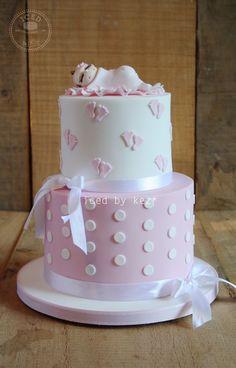 Baby Shower Cake - iced by kez #babyshower #cake #pinkfeet #fondantbabytopper
