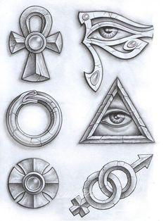 Egyptian Symbol Tattoo, Egyptian Tattoo Sleeve, Egyptian Symbols, Egyptian Art, Egyptian Isis, Anubis Tattoo, Ankh Tattoo, Kunst Tattoos, Body Art Tattoos