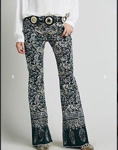 Free People New Delhi Border Flare Jeans Corduroy Pants boho chic  28