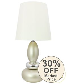 Champagne Round Pebble Statement  Lamp with White shade