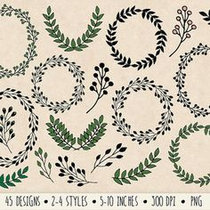 45 Hand Drawn Floral Wreaths and Laurels Clip Art.