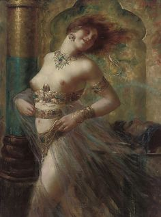 """Dancing Odalisque. Eugen Ansen-Hoffmann (Austrian, 1862-1955). Oil on canvas. The word """"odalisque"""" is French in form and originates from the Turkish odalık, meaning """"chambermaid."""" If an odalık was of extraordinary beauty or had exceptional talents in dancing or singing, she would be trained as a possible concubine."""