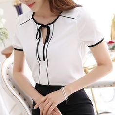 Black White Patchwork Mulheres Blusa Chiffon V neck Camisa Gravata borboleta Tops Casual Camisa OL Blusa de Manga Curta Plus Size S-XXL T6658