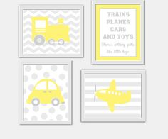 ** CUSTOMIZE THE COLORS TO MATCH YOUR DECOR**    SET OF 4 PRINTS - YELLOW GRAY - These prints would make a great addition to any Baby Nursery -