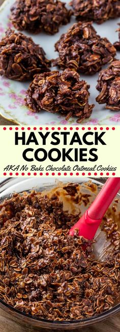 Haystack cookies are a deliciously chewy no bake cookie with oatmeal and coconut They re made from simple pantry ingredients super easy and loved by kids and adults alike nobake cookies recipes haystackcookies Easy Cookie Recipes, Sweet Recipes, Baking Recipes, Dessert Recipes, Oatmeal Recipes, Simple Cookie Recipe, Kid Recipes, Baking Desserts, Health Desserts
