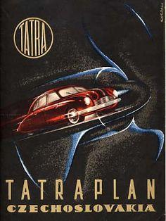 Tatraplan art and books Vintage Labels, Vintage Ads, Vintage Posters, Technical Illustration, Car Illustration, Car Advertising, Old Signs, Car Images, Retro Cars