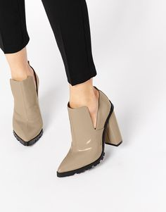 Beige cut out ankle boots