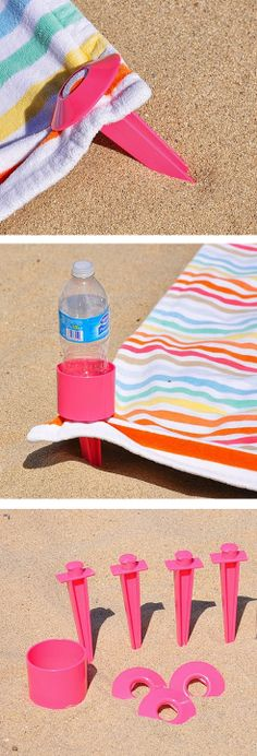 Beach towel stakes with cup holder - genius!