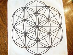 12 X12 Flower Of Life Black Line Crystal Grid Cloth Template Charging Pad Metatron Cube Star David Sacred Altar Divination