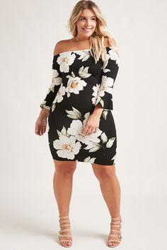 Plus size floral mini dress damenmode online shop, plus size outfits, curvy Look Plus Size, Curvy Plus Size, Plus Size Model, Plus Size Jeans, Curvy Girl Fashion, Look Fashion, Trendy Fashion, Fall Fashion, Mode Outfits
