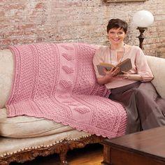 Aran Hearts Throw by Bonnie Barker for Red Heart #freepattern #crochet #intermediate