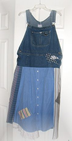 Altered Upcycled Blue jean Overall Men's shirt dress by UpCDooZ, $44.00