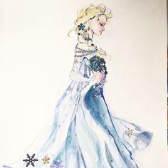#frozen #Elsa #Disney fashion illustration - Victoria Ying's art