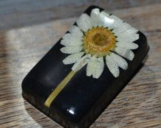 Real Daisy Resin Brooch - April Birth Flower