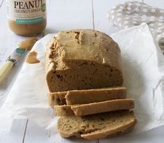 A protein rich, grain free bread made with Mayver's Smooth Peanut Butter. This recipe is free from grains, gluten and dairy and boasts an incredible taste. Butter Bread Recipe, Coconut Peanut Butter, Gluten Free Peanut Butter, Gluten Free Baking, Banana Carrot Bread, Grain Free Bread, Snack Recipes, Free Recipes, How To Make Bread