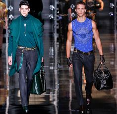 Versace 2014-2015 Fall Autumn Winter Mens Runway Looks Fashion - Milano Moda Uomo Milan Fashion Week - Camera Nazionale della Moda Italiana - Denim Jeans Vintage Patchwork Destroyed Paint Splatters Jacket Outerwear Trench Coat Overcoat Topcoat Cowboy Western Chaps Motorcycle Biker Rider Motocross Ombre Grunge Metallic Studs Star Sheriff Horseshoe Cactus Helmet Boots