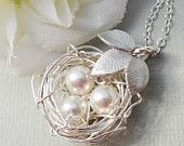 Sterling Silver Birds Nest With Three Leaves - ALL STERLING SILVER Rustic Nest