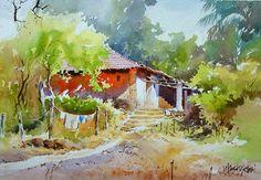` Watercolor Landscape Paintings, Watercolor Artwork, Watercolor Portraits, Watercolor Flowers, Painting Art, Art N Craft, Easy Paintings, Art Techniques, India