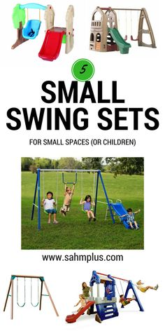 Check out these small swing sets for small yards or small children. Get ready for spring or summer with outdoor play