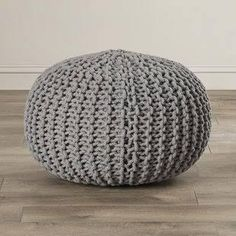 Found it at Wayfair - Kahn Sphere Pouf Ottoman Knitted Pouf, Floor Pouf, Reclaimed Wood Coffee Table, Wood End Tables, Coffee Tables, Round Ottoman, Upholstered Storage Bench, Decoration, Bean Bag Chair
