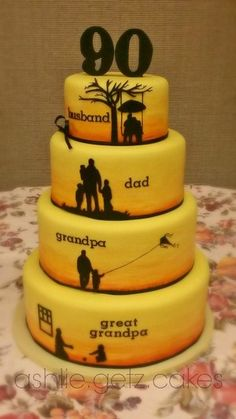90th Birthday Cakes - this generations cake is so meaningful. Each tier represents a different role: Husband, Dad, Grandpa and Great Grandpa
