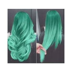FROZEN Mint Green Hair Dye- 6 Teal Mint Hair Chalks | HairChalk ❤ liked on Polyvore featuring hair