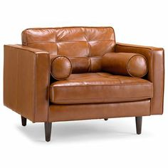 Darrin Tufted Leather ArmChair (cognac, naturally)
