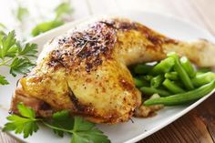 Baked chicken with greens