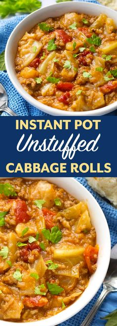 Instant Pot Unstuffed Cabbage Rolls is a heart, thick stew with the same ingredients as a cabbage roll - unstuffed! This pressure cooker unstuffed cabbage rolls recipe is delicious, and a little old fashioned comfort food. simplyhappyfoodie.com #instantpotrecipes #instantpotunstuffedcabbagerolls #instantpotcabbage #pressurecookerunstuffedcabbage Pots, Vegan Cabbage Rolls, Easy Cabbage Rolls, Cabbage Rolls Recipe, Cooked Cabbage Recipes, Pressure Cooking, Pressure Cooker Xl, Instant Pot Pressure Cooker, Pressure Pot