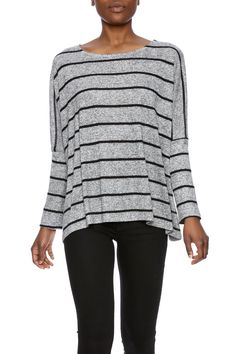 Boxy fit 3/4 sleeve top with a white stripe pattern and boat neckline.  3/4 Sleeve Top by Veronica M. Clothing - Tops - Long Sleeve Clothing - Tops - Tees & Tanks Iowa
