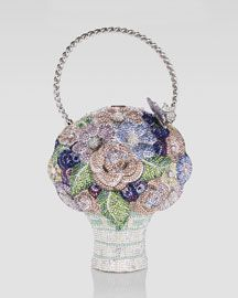 Crystal Flower Basket Bag by Judith Leiber at Neiman Marcus. An interesting yet practical alternative to a bouquet! Novelty Bags, Unique Bags, Unique Handbags, Beaded Purses, Beaded Bags, Basket Bag, Judith Leiber, Vintage Purses, Girls Bags