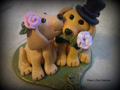 Yellow Lab Puppy Wedding Cake Topper, Dog ~ Polymer Clay Keepsake ~ via Etsy.