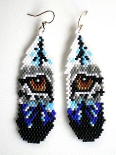 Wolf Eyes Feather Style Peyote Earrings, Native American Inspired. Fantastic design by Mary Hipple of WolfDenDezigns. These earrings were created by me one bead at a time using peyote stitch. Measu