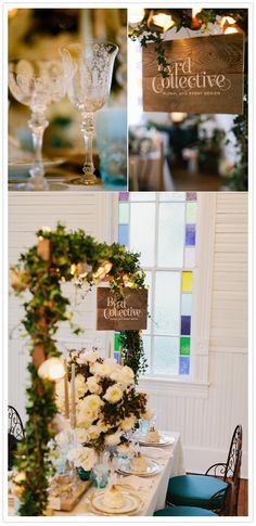 this is the dream... a created frame over the table with lights and fairy bower effect decorated tablescape stencilled glass jars