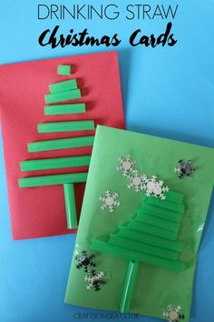 These easy drinking straw Christmas cards are perfect for preschoolers to make or making with older kids to help teach about different sizes.