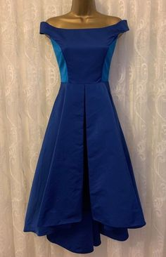 8a21875f949 Karen Millen Drop Shoulder Taffeta Asymmetric Low Hem Flare Prom Dress UK  10 38 RRP £