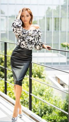 Skirt Outfits, Sexy Outfits, Sexy Dresses, Fashion Outfits, Black Leather Skirts, Leather Dresses, Asian Fashion, Girl Fashion, Womens Fashion