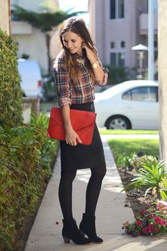 Monochromatic look with taller ankle boots. Try a fun patterned top to offset the monochromatic bottom.