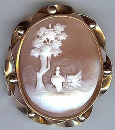 Antique Victorian Gold Tone Carved Shell CAMEO PEACEFUL SCENE Figural Pin