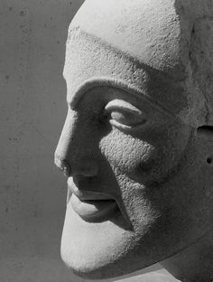Herbert List  GREECE. Attica. Aegina island. Aphaia temple. Head of a warrior. 1937.