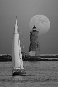 Sailboat. Lighthouse. Full Moon. Sound.
