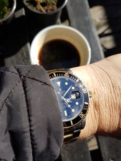 Coffee and Rolex Wife ready to plant strawberries and herbs. I will just sit and relax with a cup of coffee. #rolex #coffee #sub #rolex16803 #sun