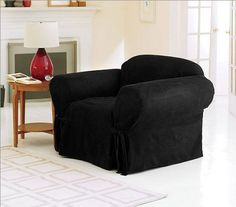 """Chezmoi Collection Soft Micro Suede Solid Black Armchair /Arm-chair Cover Slipcover with Elastic Band Under Seat Cushion by Chezmoi Collection. $29.99. Fabric Content: 100 % Polyester, Installation instructions included. Care Instruction: Machine Washable. Soft Black Suede Arm-Chair Slipcover by Chezmoi Collection. 1 Piece Armchair Cover (34"""" ~ 42"""" ). Stretch Fit, Elastic Band Under Seat Cushion. Looking for an easy decorating solution? Slipcovers give your home ..."""