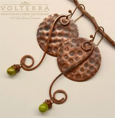 Hammered  Copper Earrings  Gypsy Boho Rustic by SunStones on Etsy