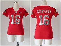 Women's San Francisco 49ers #16 Joe Montana Handwork Sequin Lettering Fashion Jersey
