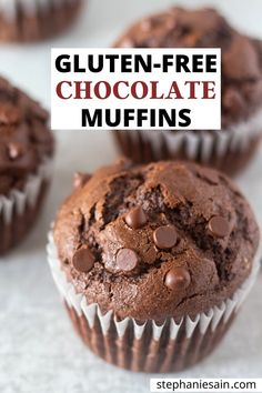 These Gluten Free Chocolate Muffins are fudgy, rich decadent muffin perfect for breakfast or snacking. A double chocolate treat that is gluten free and refined sugar free. Gluten Free Chocolate Muffin Recipe, Chocolate Sin Gluten, Double Chocolate Muffins, Gluten Free Sweets, Gluten Free Cakes, Gluten Free Cooking, Dairy Free Recipes, Chocolate Recipes, Chocolate Chips